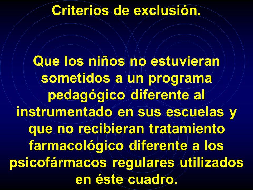 Criterios de exclusión.