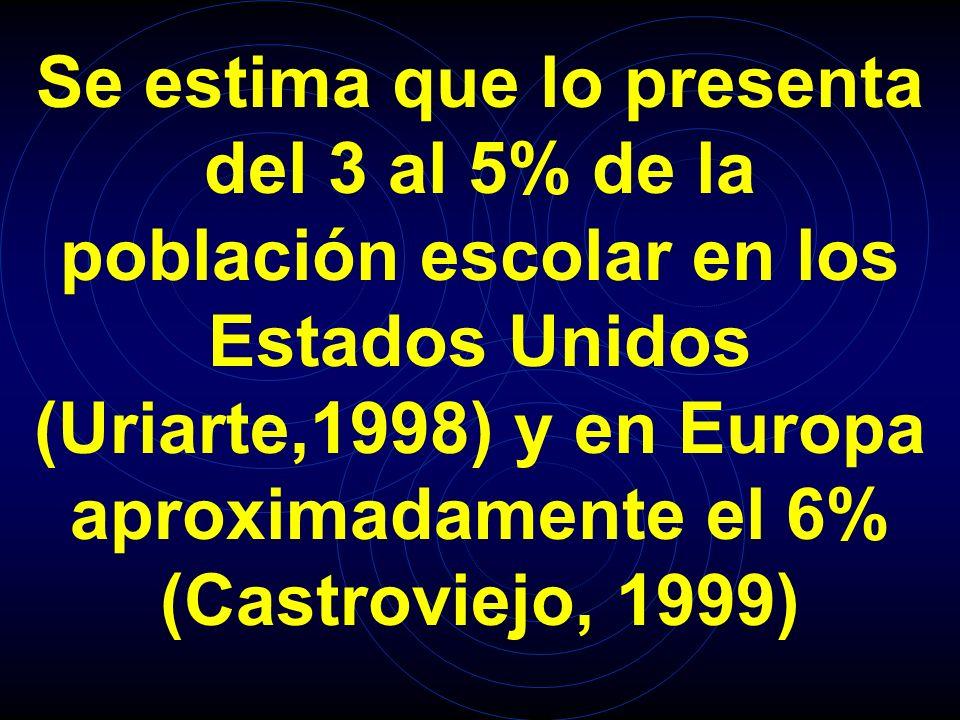 Se estima que lo presenta del 3 al 5% de la población escolar en los Estados Unidos (Uriarte,1998) y en Europa aproximadamente el 6% (Castroviejo, 1999)