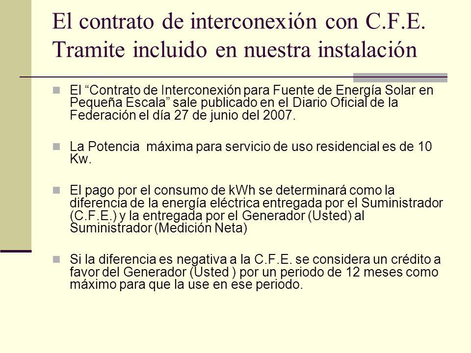 El contrato de interconexión con C. F. E