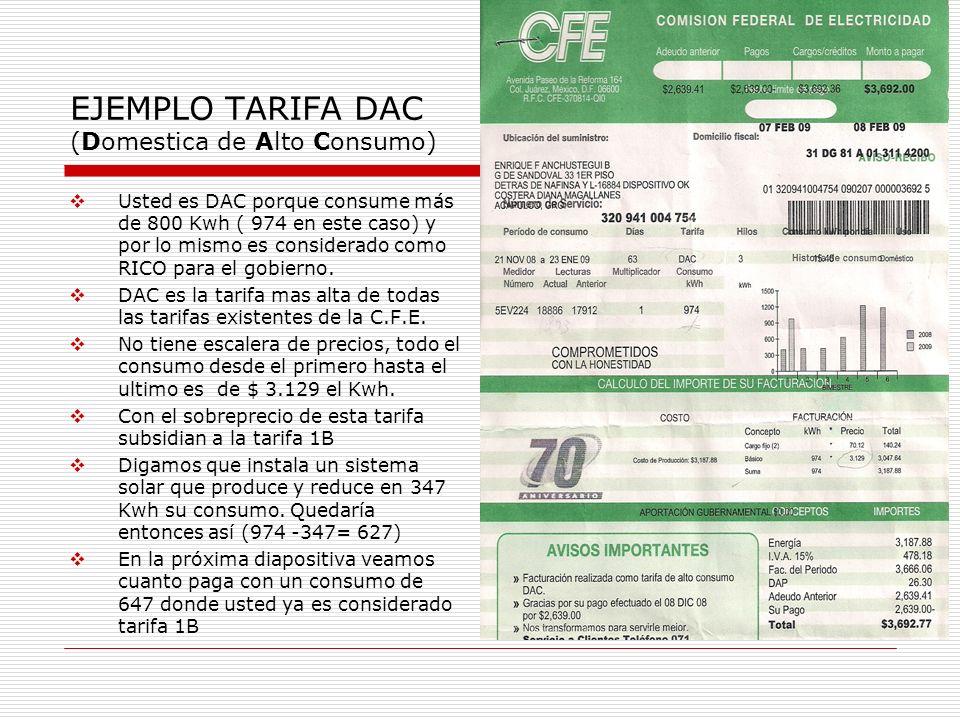 EJEMPLO TARIFA DAC (Domestica de Alto Consumo)