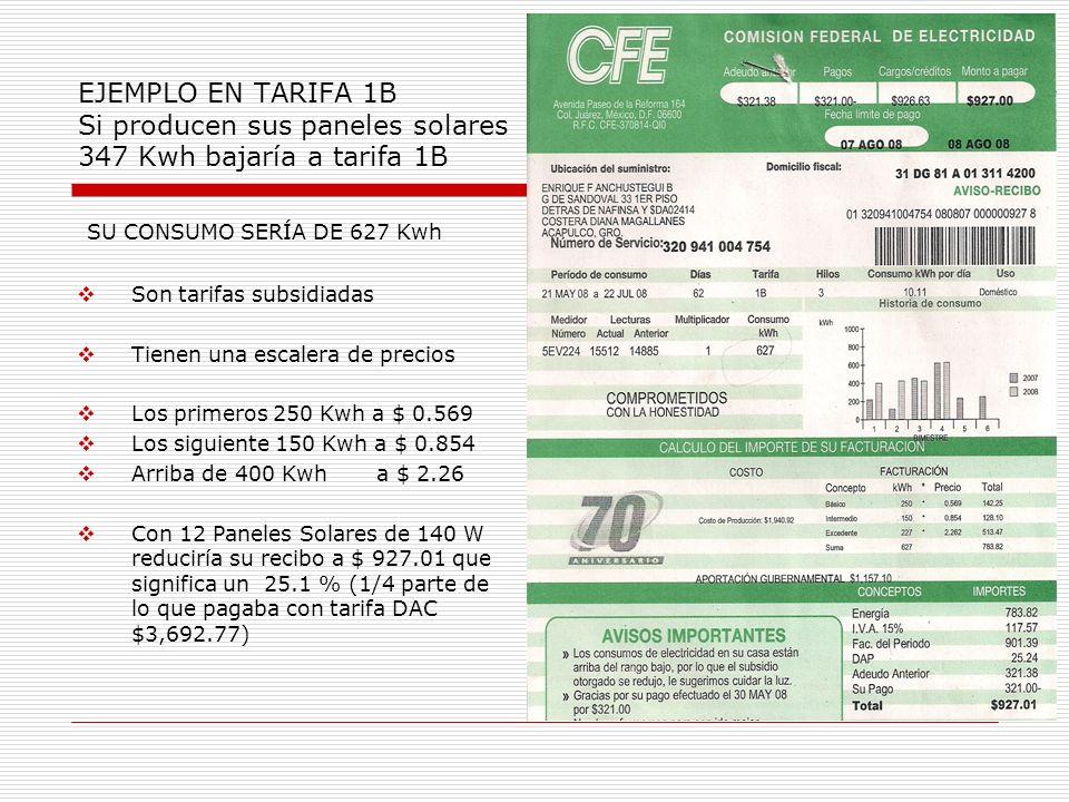 EJEMPLO EN TARIFA 1B Si producen sus paneles solares 347 Kwh bajaría a tarifa 1B