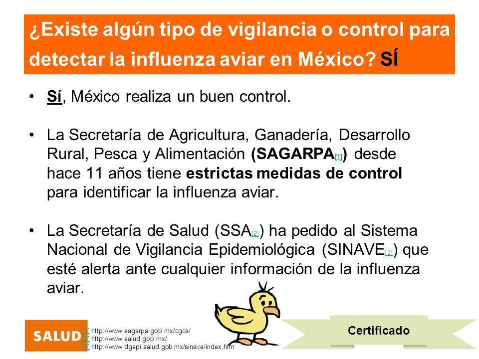 ¿Existe algún tipo de vigilancia o control para detectar la influenza aviar en México SÍ