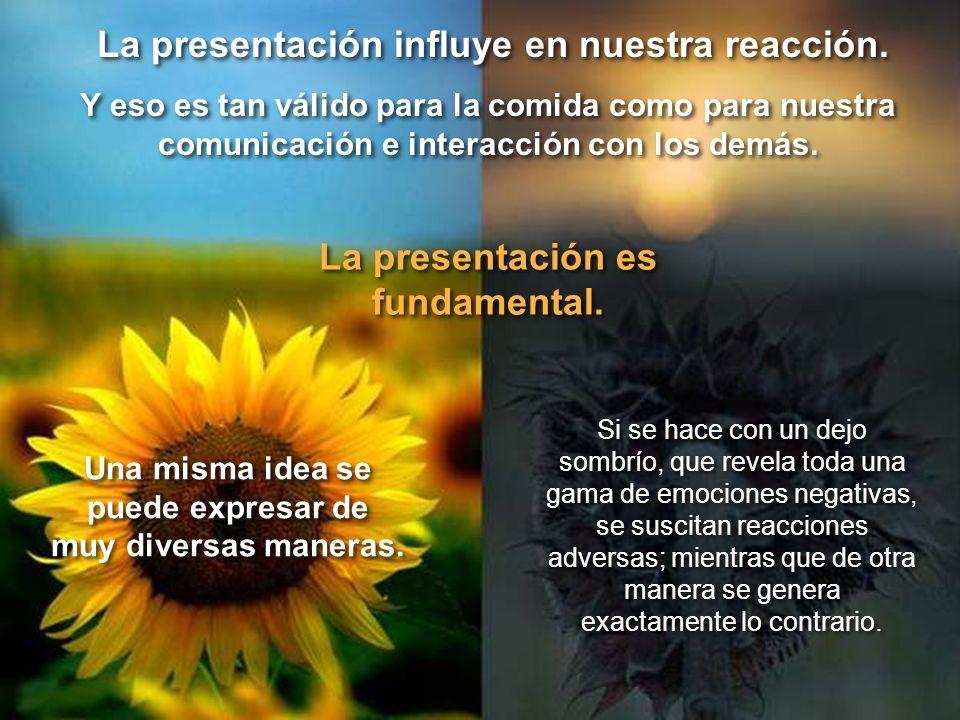 La presentación influye en nuestra reacción.