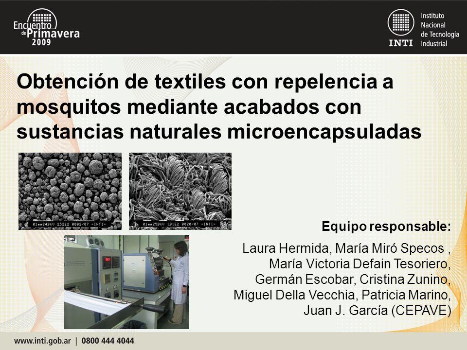 Obtención de textiles con repelencia a mosquitos mediante acabados con sustancias naturales microencapsuladas