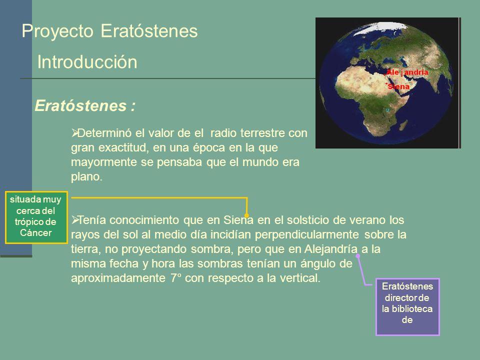 Proyecto Eratóstenes Introducción Eratóstenes :