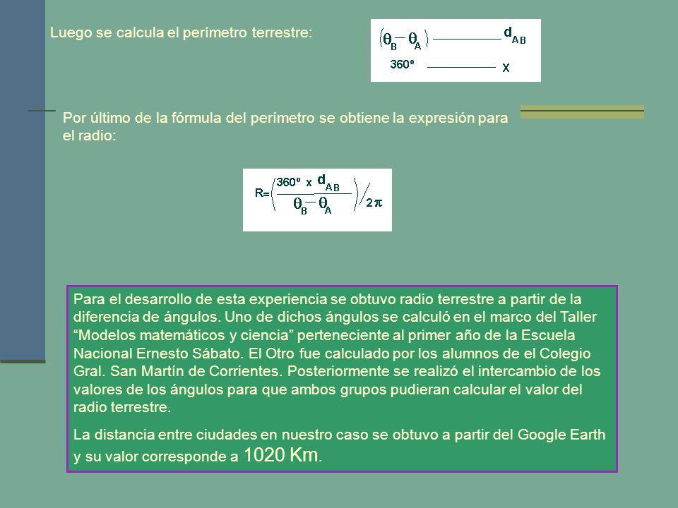 Luego se calcula el perímetro terrestre: