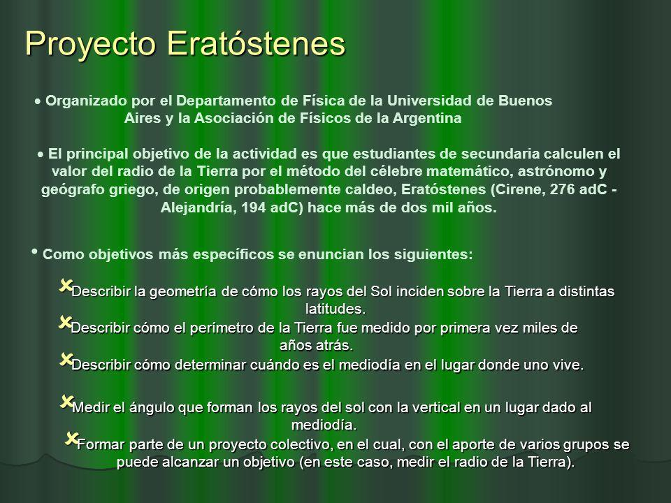 Proyecto Eratóstenes Organizado por el Departamento de Física de la Universidad de Buenos Aires y la Asociación de Físicos de la Argentina.