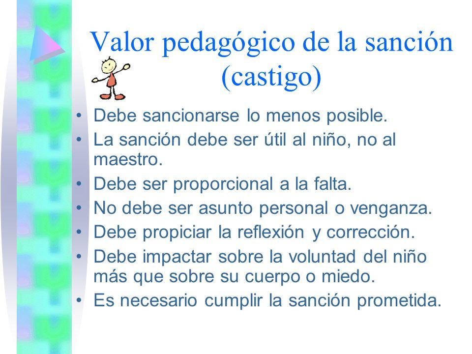 Valor pedagógico de la sanción (castigo)