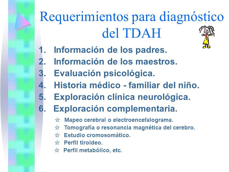 Requerimientos para diagnóstico del TDAH