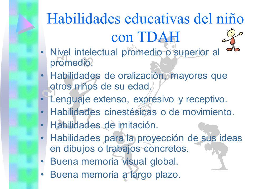 Habilidades educativas del niño con TDAH