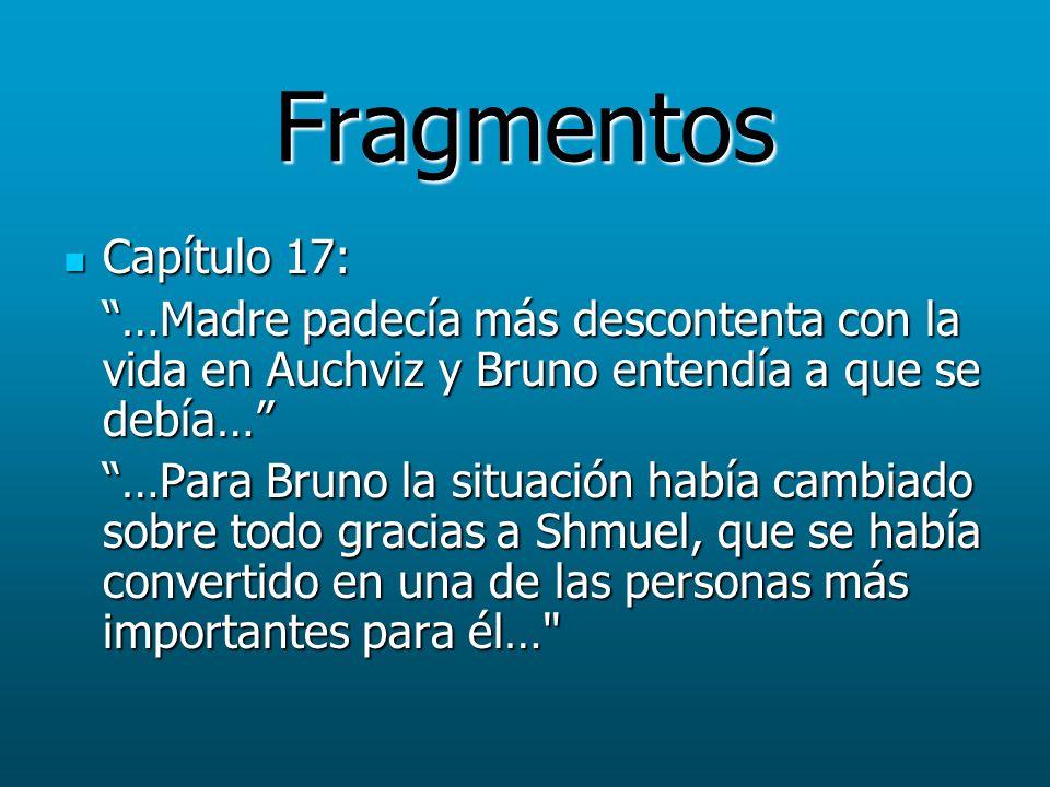 Fragmentos Capítulo 17: …Madre padecía más descontenta con la vida en Auchviz y Bruno entendía a que se debía…