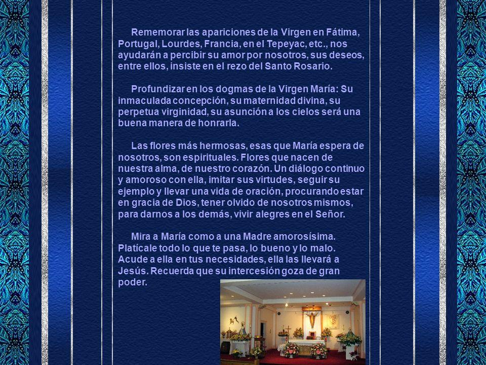 Rememorar las apariciones de la Virgen en Fátima, Portugal, Lourdes, Francia, en el Tepeyac, etc., nos ayudarán a percibir su amor por nosotros, sus deseos, entre ellos, insiste en el rezo del Santo Rosario.