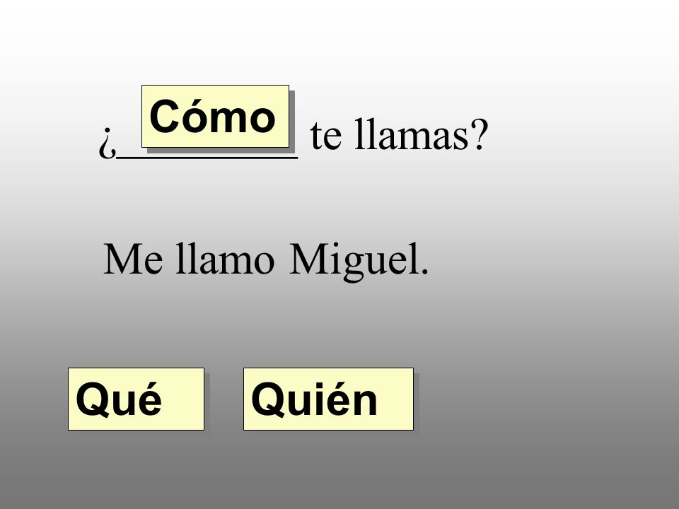 Cómo ¿________ te llamas Me llamo Miguel. Qué Quién