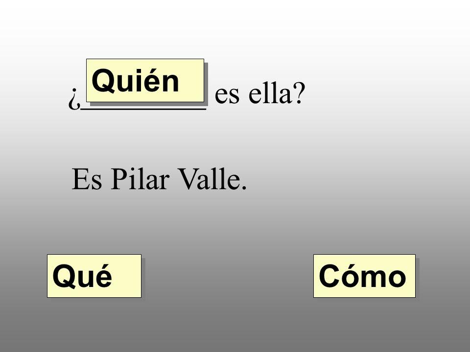 Quién ¿________ es ella Es Pilar Valle. Qué Cómo