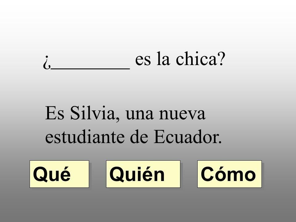 ¿________ es la chica Es Silvia, una nueva estudiante de Ecuador. Qué Quién Cómo