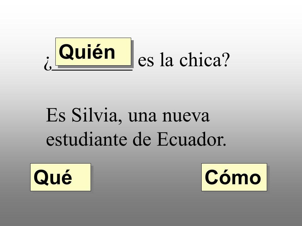 Quién ¿________ es la chica Es Silvia, una nueva estudiante de Ecuador. Qué Cómo