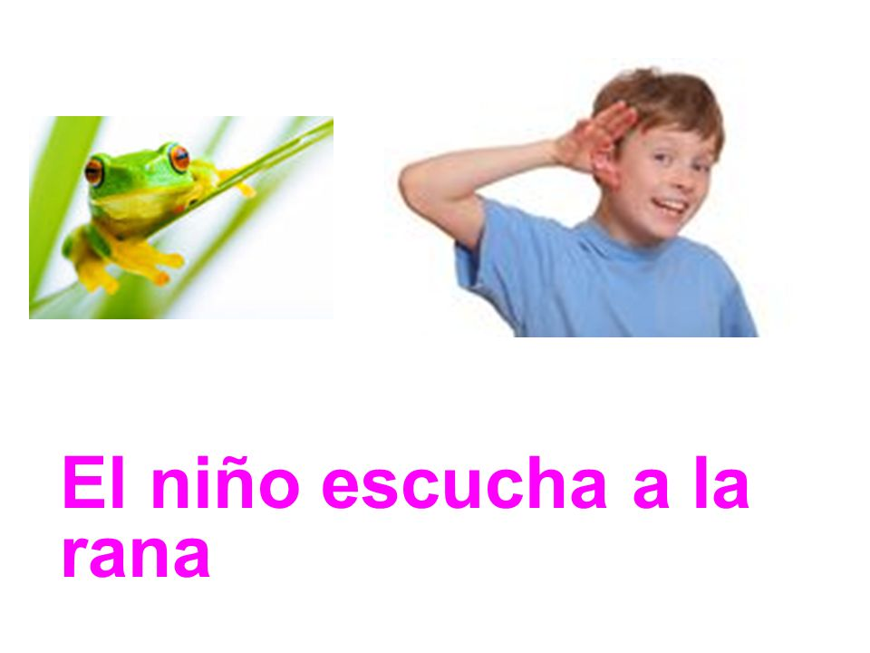 El niño escucha a la rana