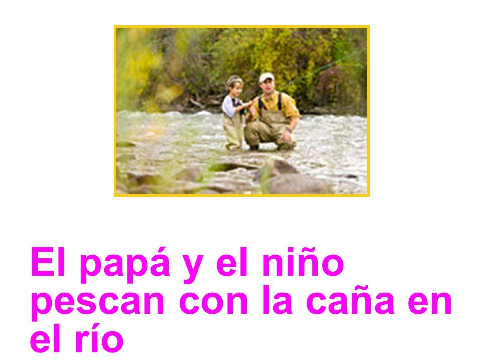 El papá y el niño pescan con la caña en el río