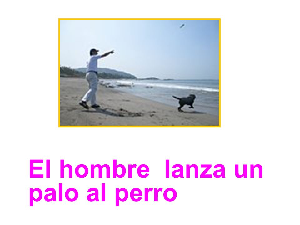 El hombre lanza un palo al perro