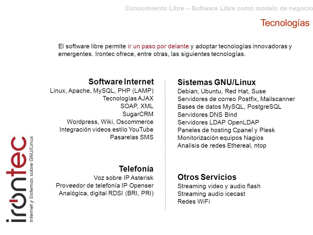 Tecnologías Software Internet Sistemas GNU/Linux Telefonía