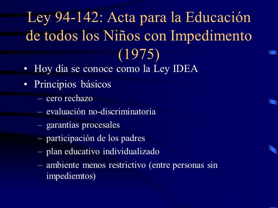 Ley 94-142: Acta para la Educación de todos los Niños con Impedimento (1975)