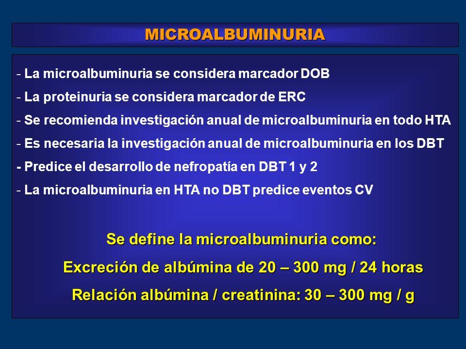 Excreción de albúmina de 20 – 300 mg / 24 horas