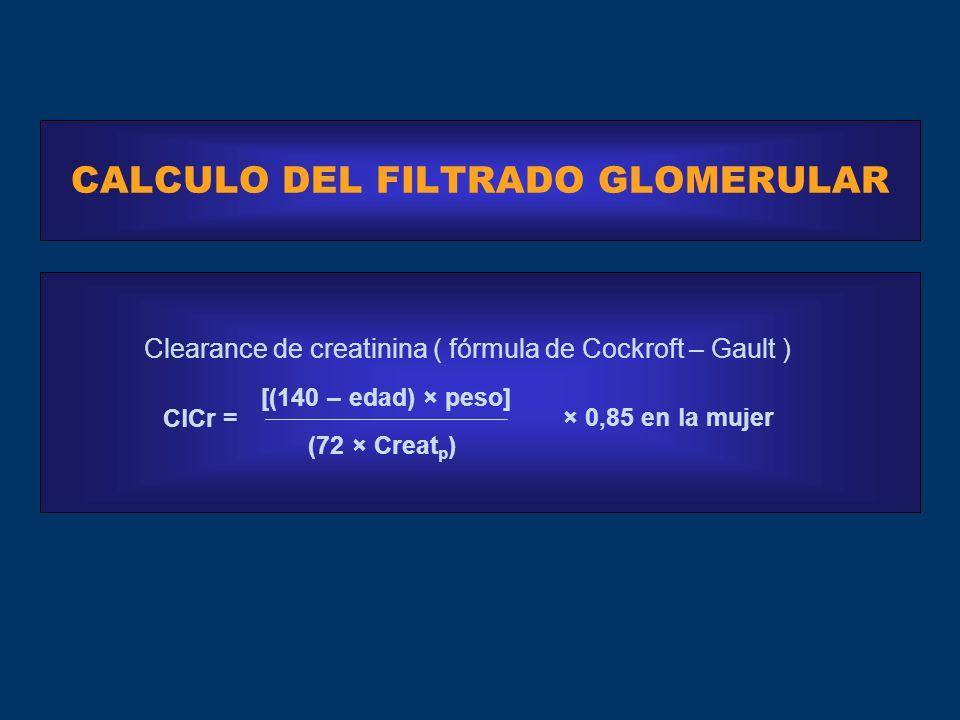 CALCULO DEL FILTRADO GLOMERULAR