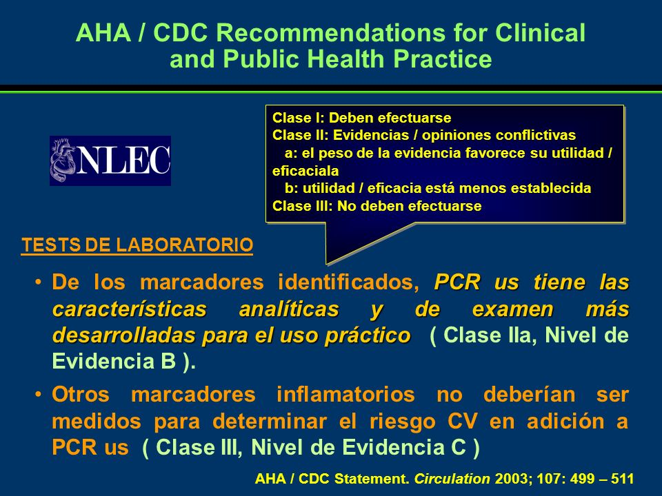 AHA / CDC Recommendations for Clinical and Public Health Practice