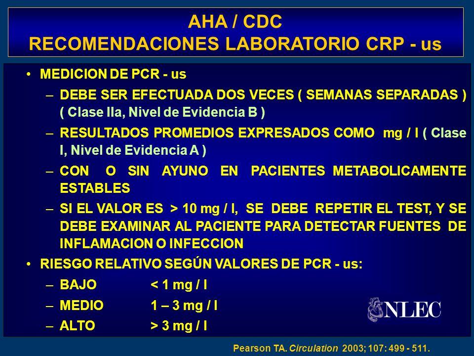 AHA / CDC RECOMENDACIONES LABORATORIO CRP - us