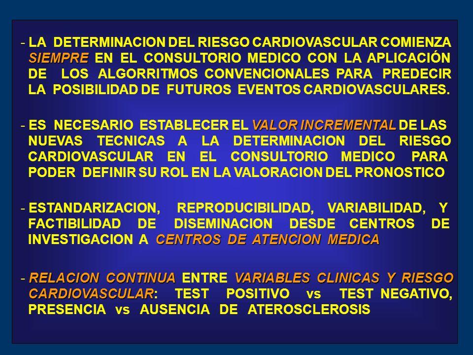 LA DETERMINACION DEL RIESGO CARDIOVASCULAR COMIENZA