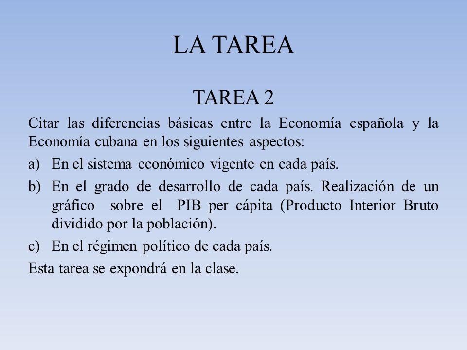 LA TAREA TAREA 2. Citar las diferencias básicas entre la Economía española y la Economía cubana en los siguientes aspectos:
