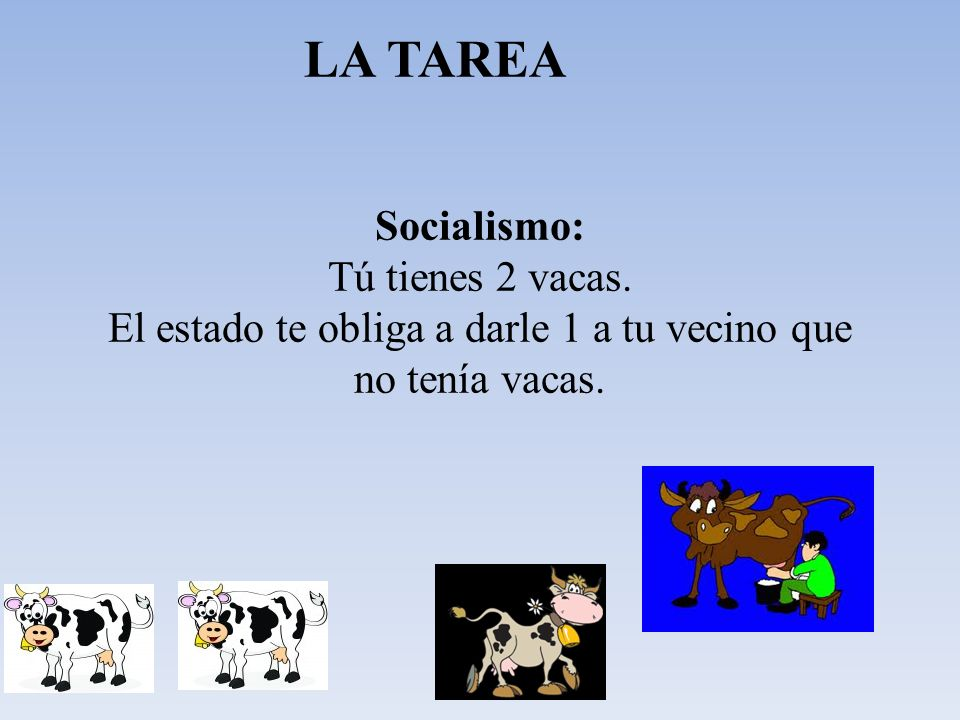 LA TAREA Socialismo: Tú tienes 2 vacas.