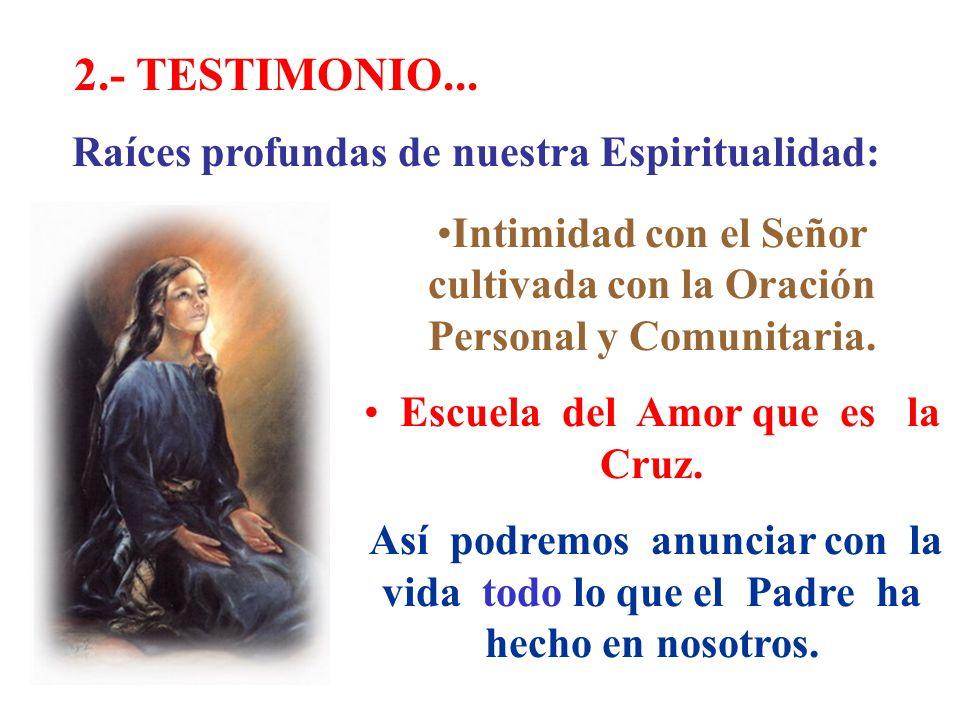 2.- TESTIMONIO... Raíces profundas de nuestra Espiritualidad: