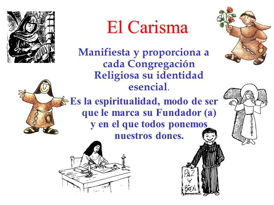 El CarismaManifiesta y proporciona a cada Congregación Religiosa su identidad esencial.