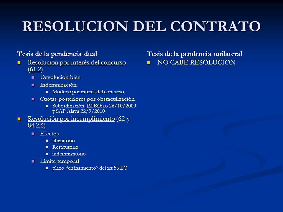 RESOLUCION DEL CONTRATO