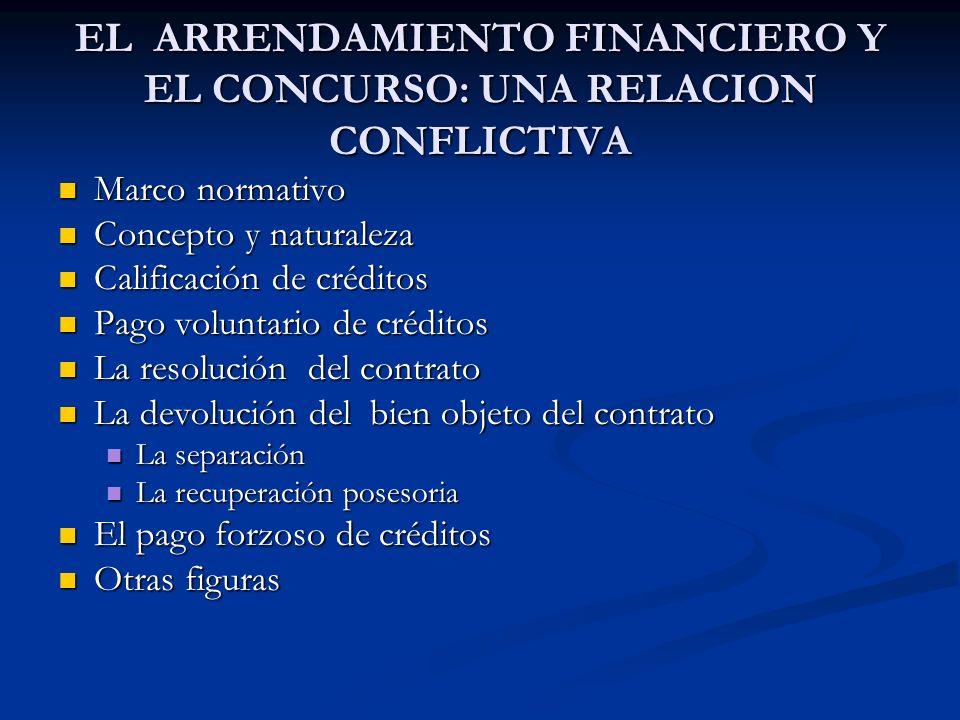 EL ARRENDAMIENTO FINANCIERO Y EL CONCURSO: UNA RELACION CONFLICTIVA