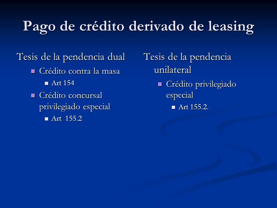 Pago de crédito derivado de leasing