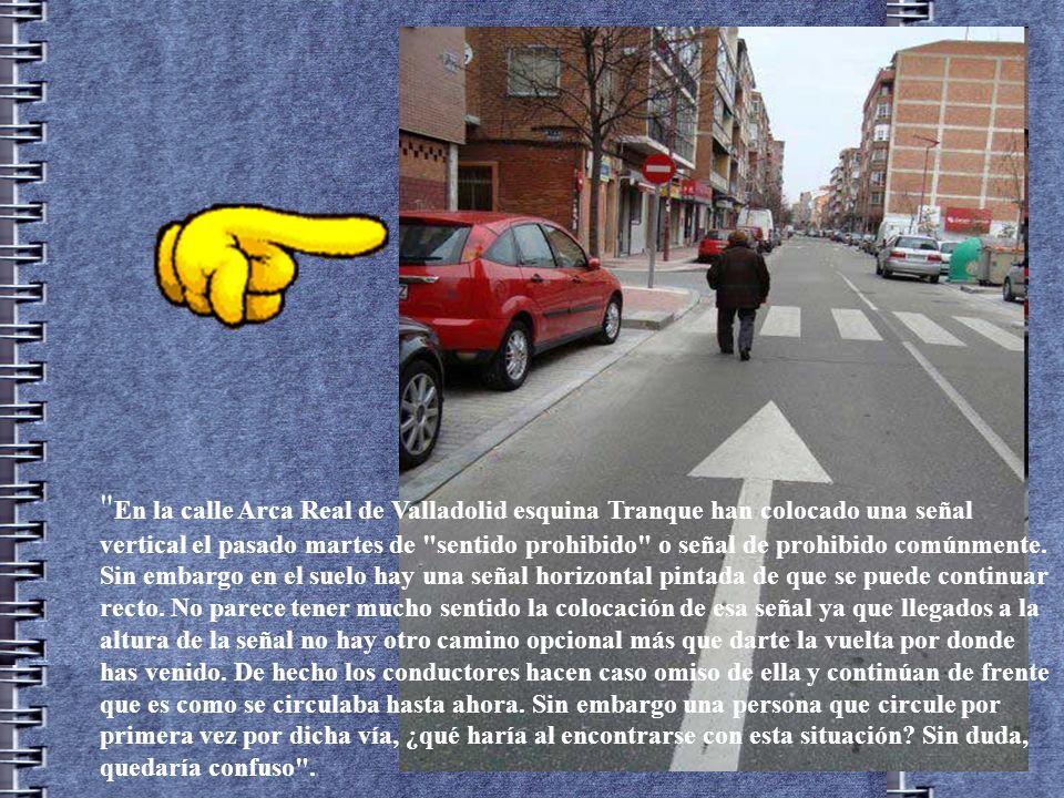 En la calle Arca Real de Valladolid esquina Tranque han colocado una señal vertical el pasado martes de sentido prohibido o señal de prohibido comúnmente.