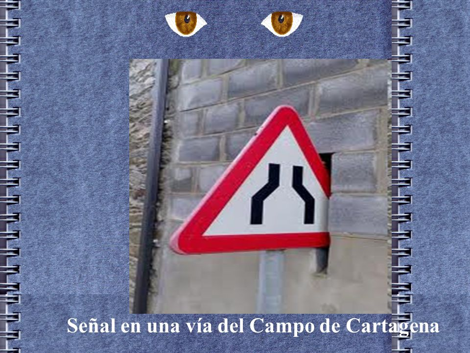 Señal en una vía del Campo de Cartagena
