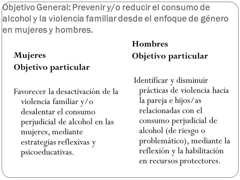 Objetivo General: Prevenir y/o reducir el consumo de alcohol y la violencia familiar desde el enfoque de género en mujeres y hombres.