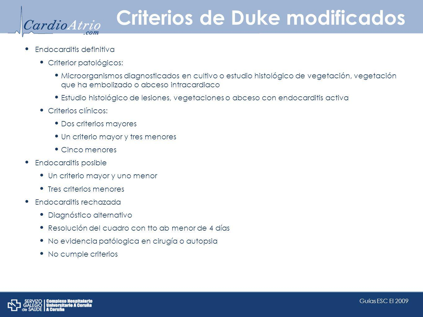 Criterios de Duke modificados
