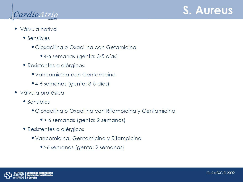 S. Aureus Válvula nativa Sensibles