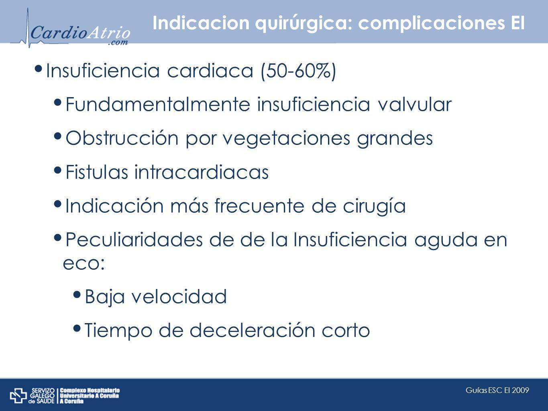 Indicacion quirúrgica: complicaciones EI