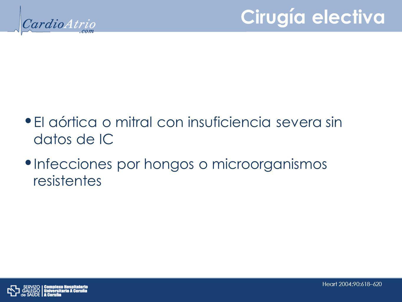 Cirugía electiva EI aórtica o mitral con insuficiencia severa sin datos de IC. Infecciones por hongos o microorganismos resistentes.