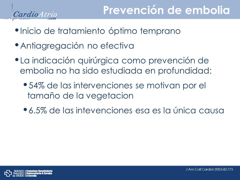 Prevención de embolia Inicio de tratamiento óptimo temprano