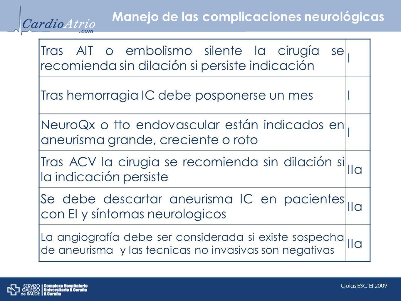 Manejo de las complicaciones neurológicas