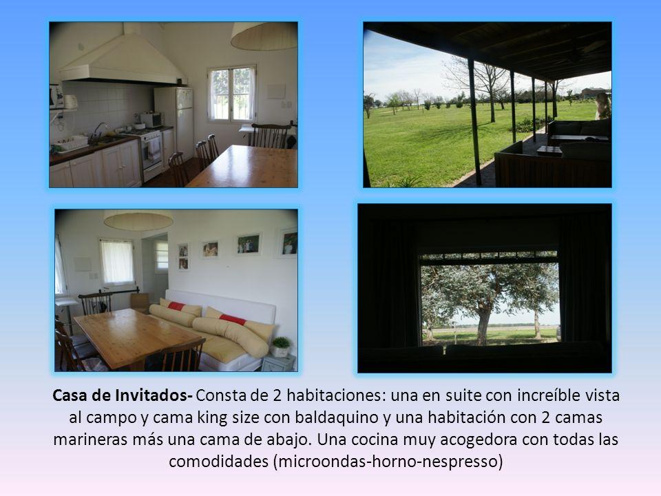 Casa de Invitados- Consta de 2 habitaciones: una en suite con increíble vista al campo y cama king size con baldaquino y una habitación con 2 camas marineras más una cama de abajo.