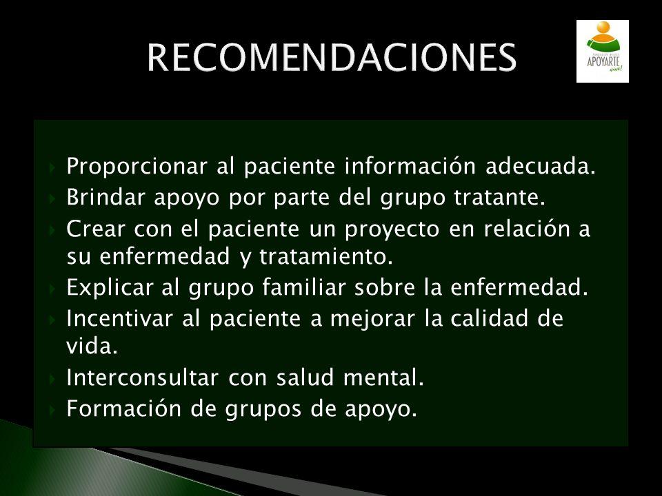 RECOMENDACIONES Proporcionar al paciente información adecuada.