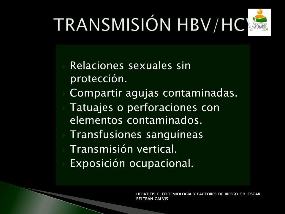 TRANSMISIÓN HBV/HCV Relaciones sexuales sin protección.