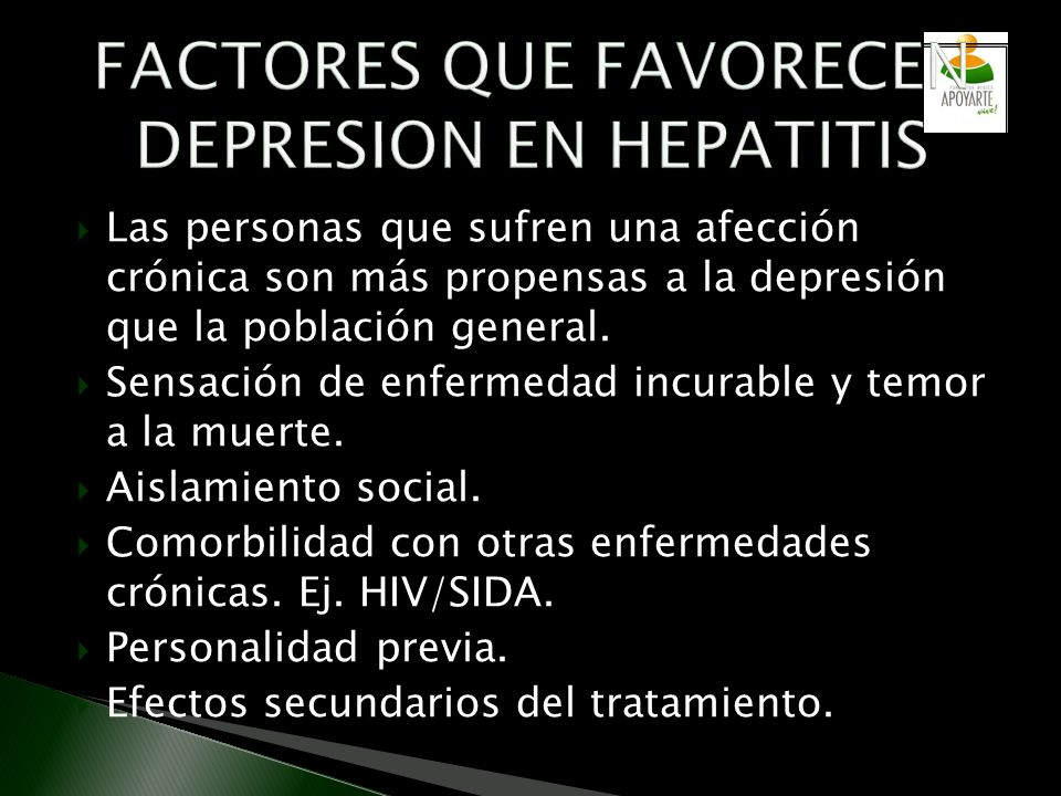 FACTORES QUE FAVORECEN DEPRESION EN HEPATITIS